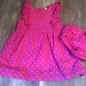 Adorable pink eyelet dress & matching diaper cover